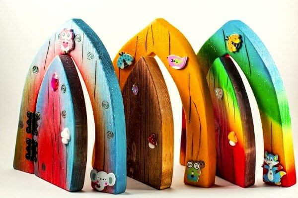 Celtic Fairy Doors lined up in a row.