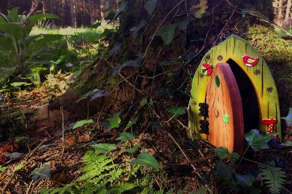 A Celtic Fairy Door at the foot of a tree in the woods.