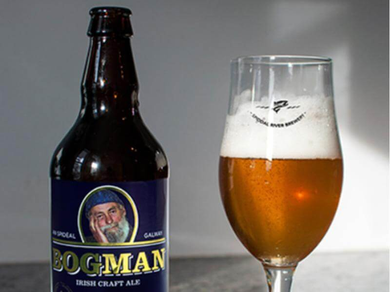 Bogman Beer Bottle and Glass of beer.